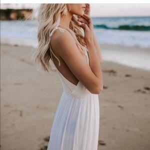 NWT Boho Llove Ivory Smoked Maxi Long Flowy Dress